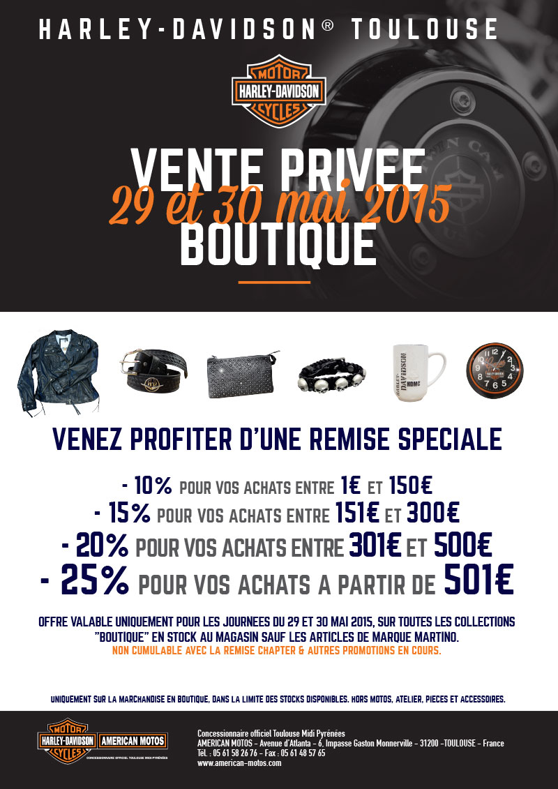 29 et 30 mai vente priv e concessionnaire officiel harley davidson midi pyr n es. Black Bedroom Furniture Sets. Home Design Ideas